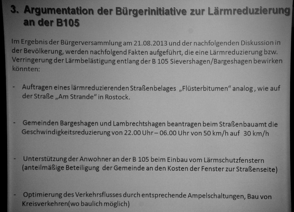 Informationsveranstaltung am 03.09.2013 zur Bürgerinitiative gegen den Bau einer Ortsumgehung der B 105 im Bereich Sievershagen / Bargeshagen