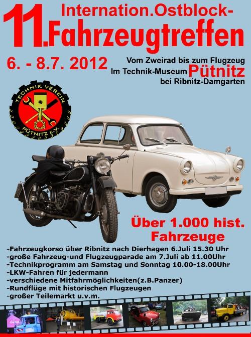 Plakat zum 11. Internationales Ostblock-Fahrzeugtreffen 2012 in Pütnitz