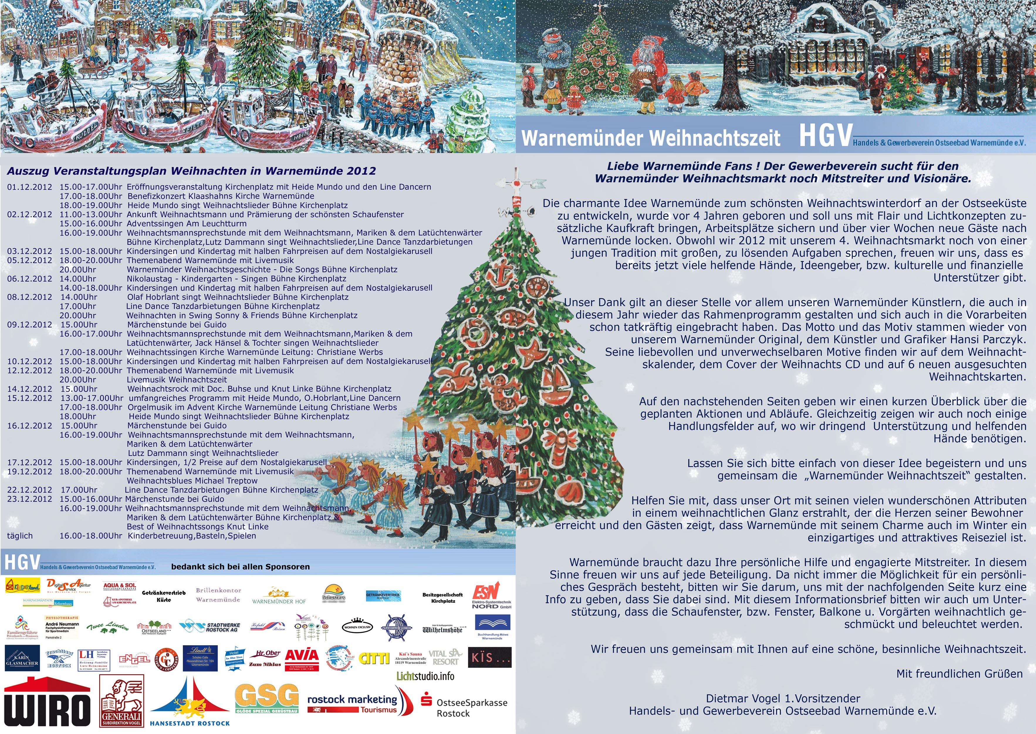 Programm Weihnachtsmarkt Warnemünde 2012