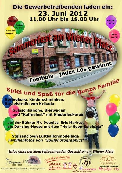 Sommerfest am Wiener Platz in Reutershagen - Ankündigungsplakat