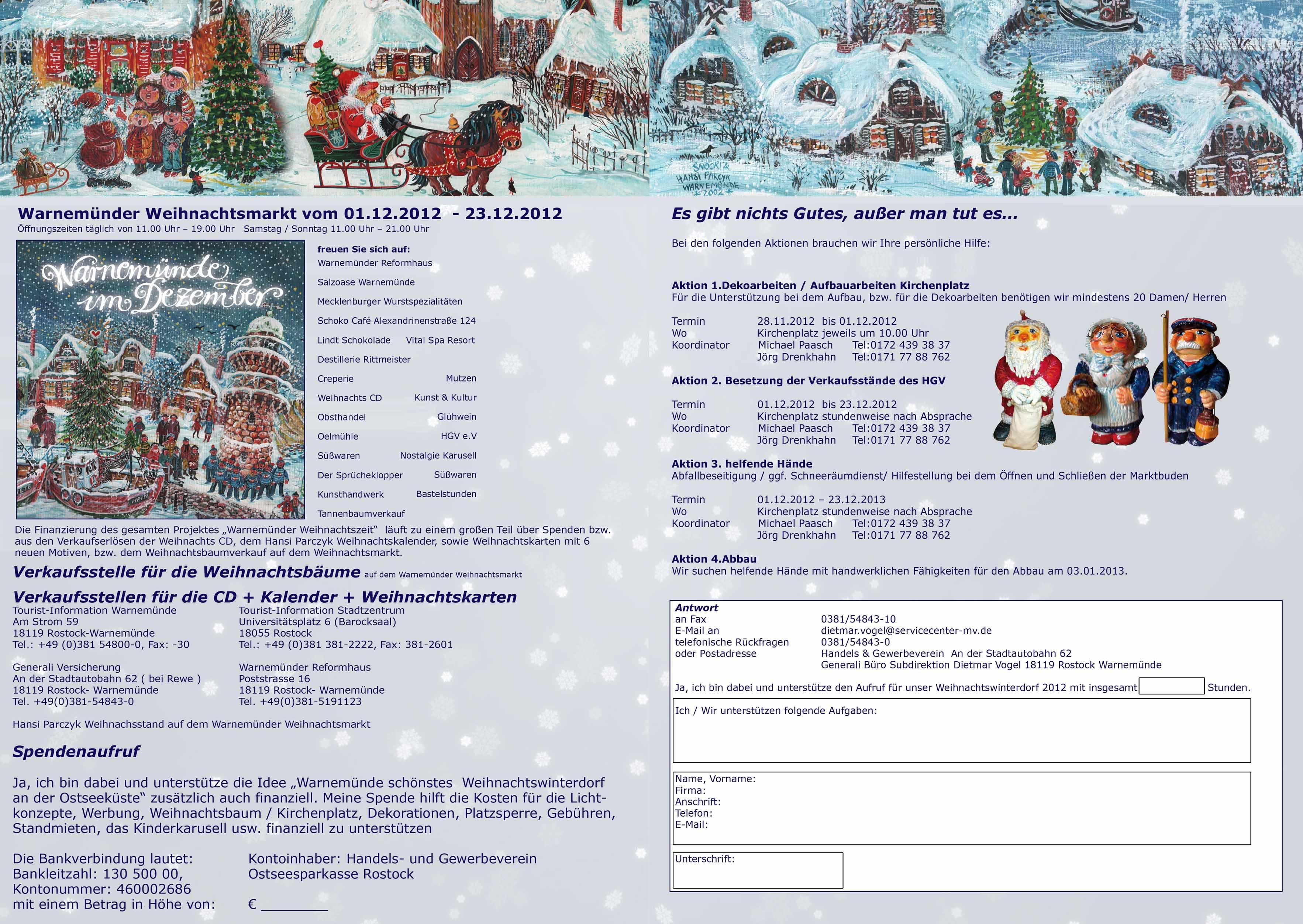 Spendenaufruf Warnemünder Weihnachtsmarkt 2012