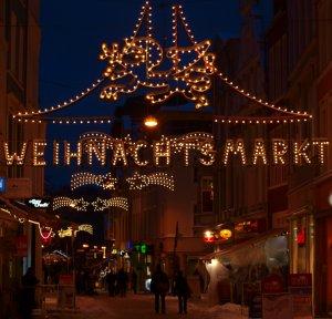 Festbeleuchung des Rostocker Weihnachtsmarkt