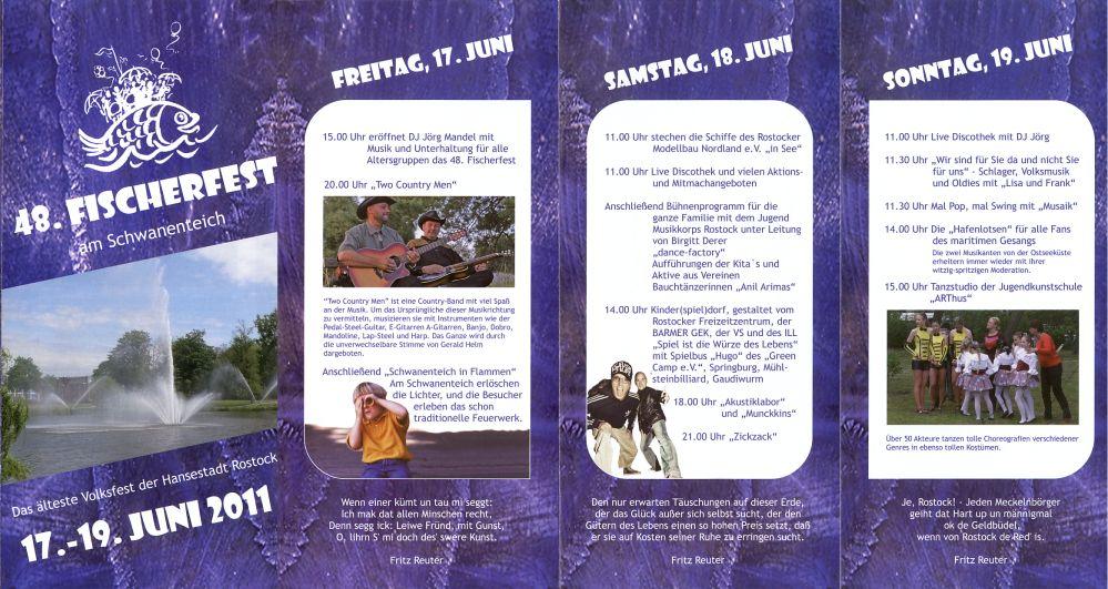 Programm Fischerfest 2011 in Rostock-Reutershagen