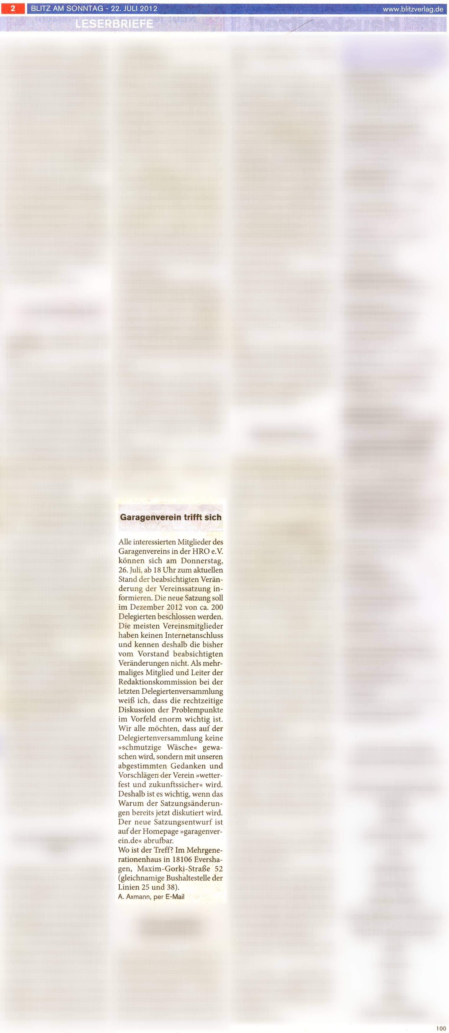 Zeitungsartikel im Rostocker Blitz am Sonntag mit der Ankündigung zur Informations- und Beratungsveranstaltung am 26.07.2012
