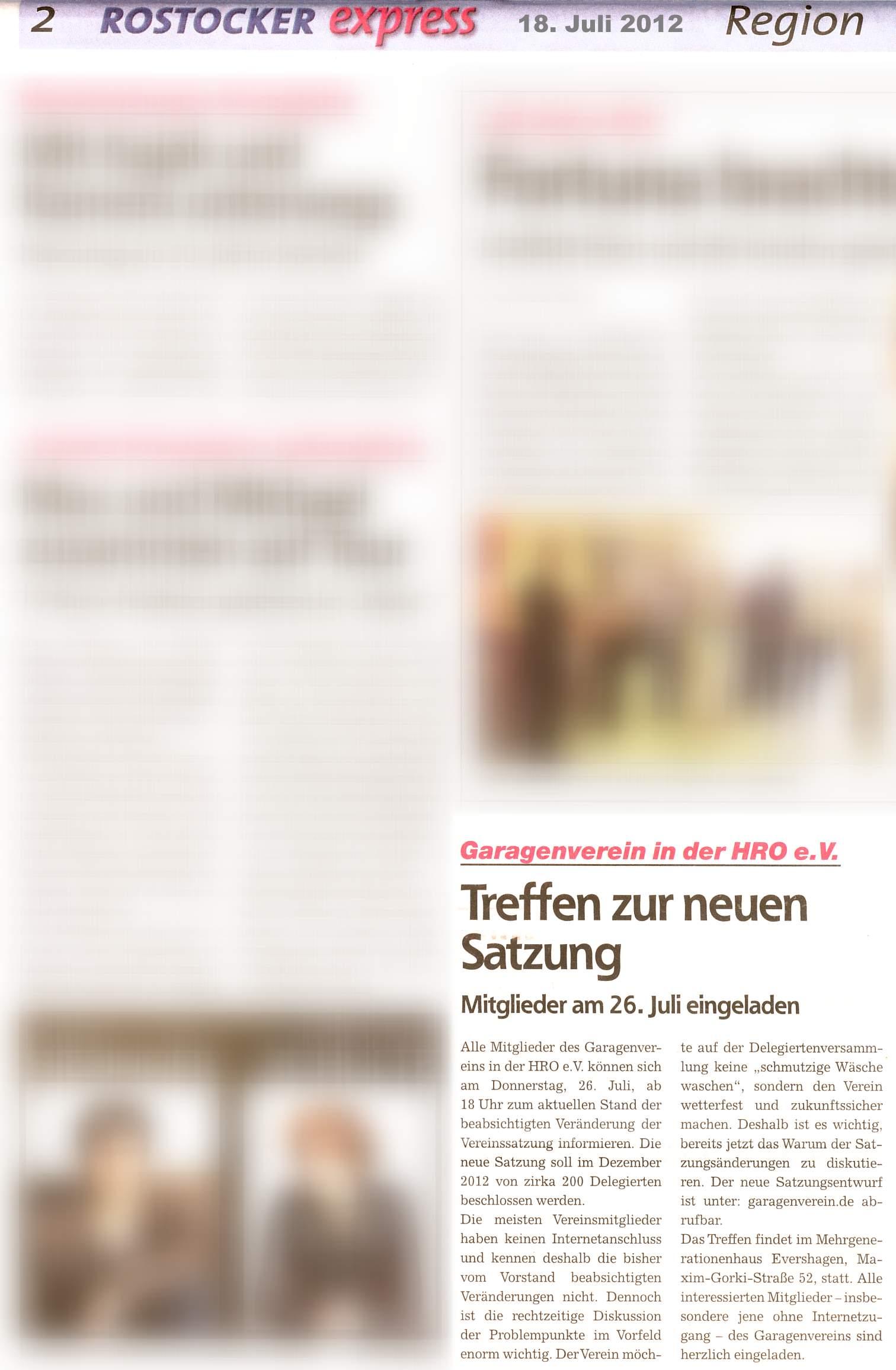 Zeitungsartikel im Rostocker Express am 18. Juli 2012 mit der Ankündigung zur Informations- und Beratungsveranstaltung am 26.07.2012