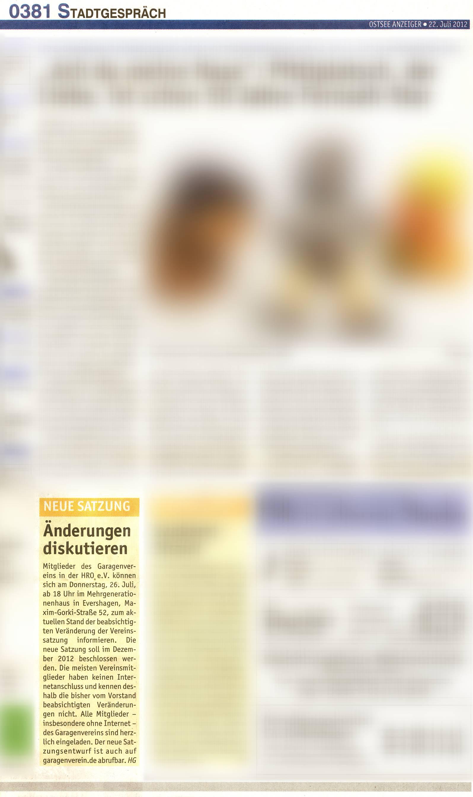 Zeitungsartikel im Ostsee Anzeiger mit der Ankündigung zur Informations- und Beratungsveranstaltung am 26.07.2012