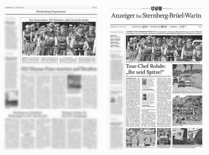 Zeitungsberichte zur Hanse-Tour-Sonnenschein 2014