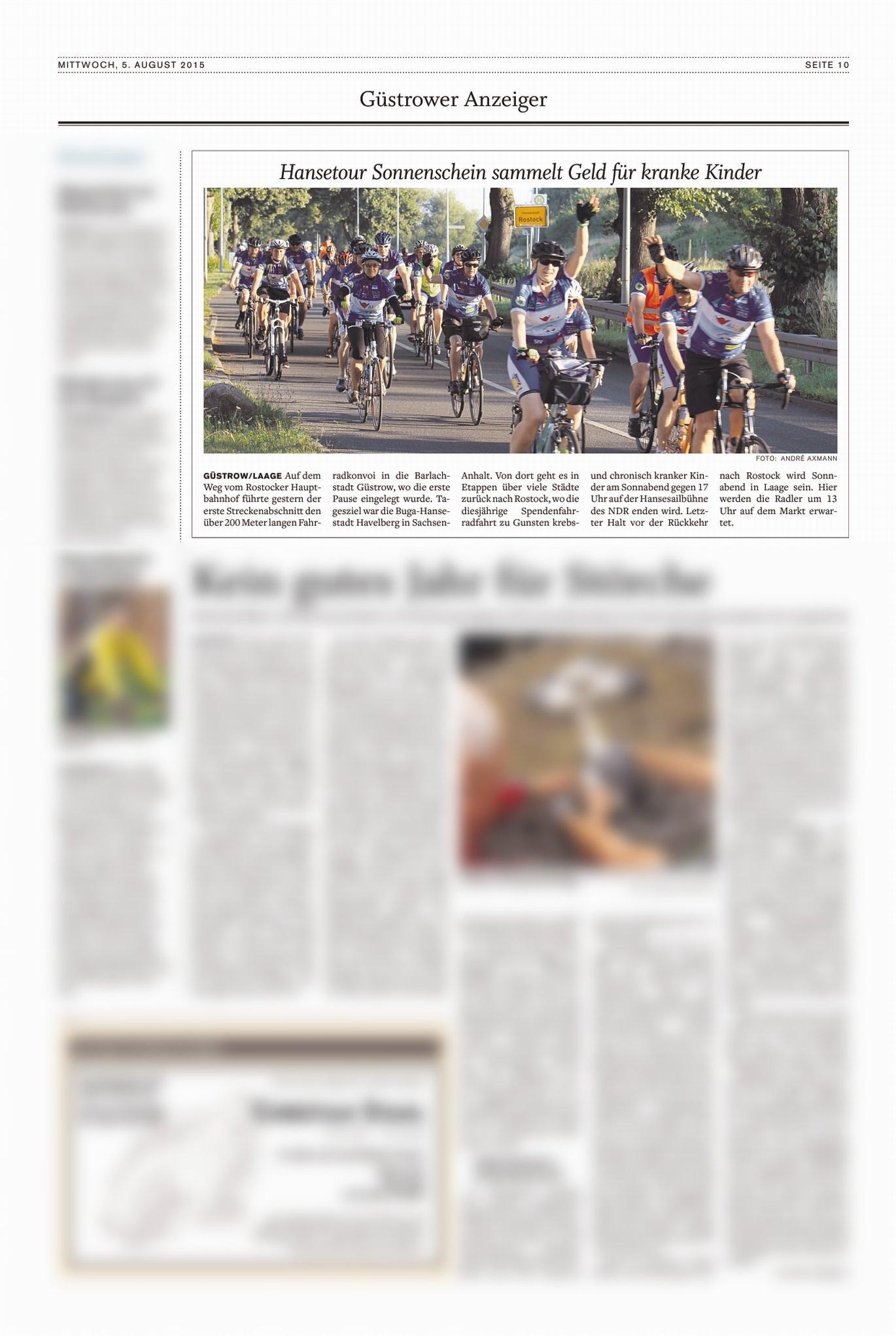 Zeitungsbericht zur Hanse-Tour-Sonnenschein 2015