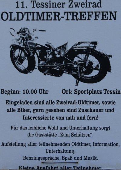 Plakat zum 11. Zweirad-Oldtimertreff in Tessin bei Rostock