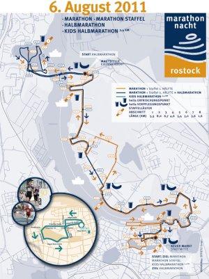Strecke Marathonnacht Rostock 2011