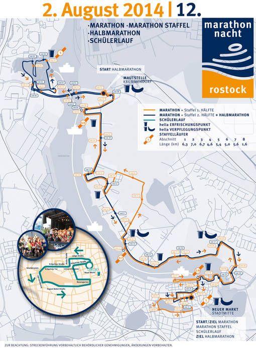 Marathon-Nacht Rostock 2014 - Strecken