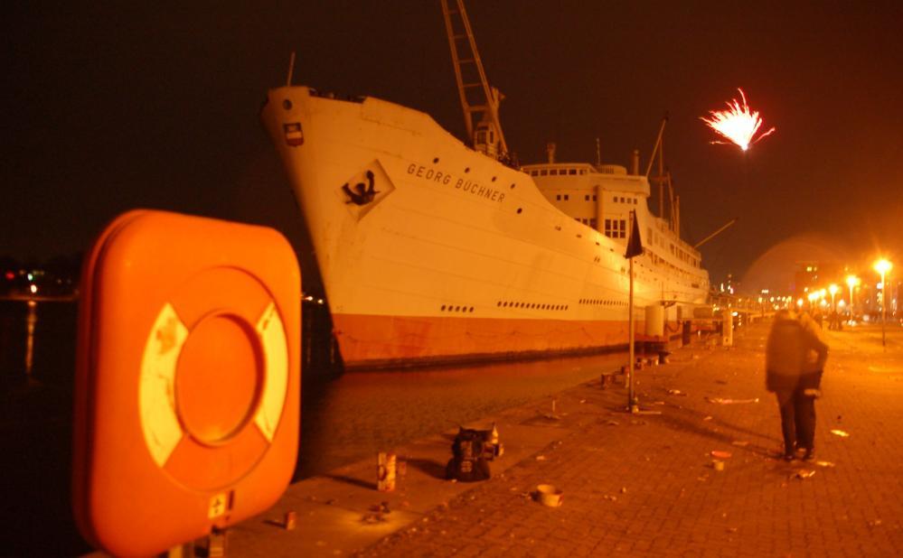 MS Georg Büchner im Stadthafen der Hansestadt Rostock zu Silvester 2012 / 2013