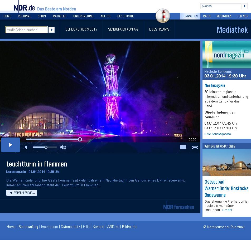 Leuchtturm in Flammen im Norddeutschen Rundfunk