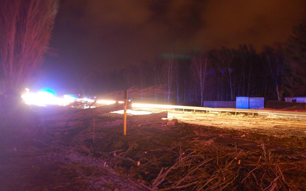 Feuerwehreinsatz auf der Stadtautobahn Rostock - Höhe Lichtenhagen - wegen vom Orkan Xaver umgestürzter Bäume