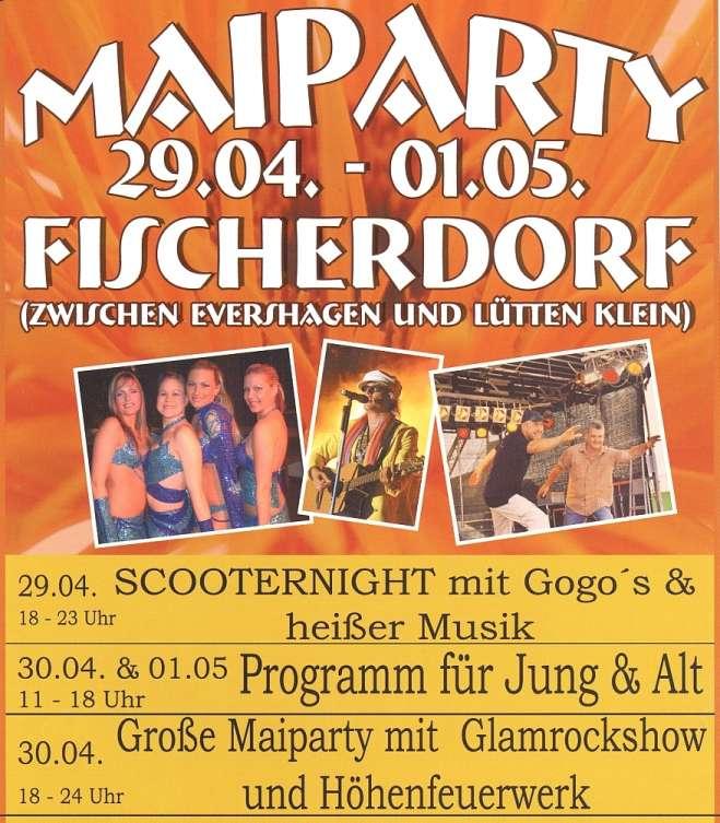Programm des Tanz in den Mai 2004 im Fischerdorf Rostock Evershagen