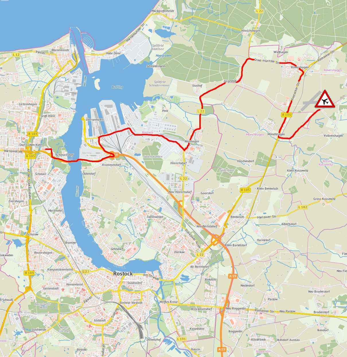 Streckenverlauf 8. Warnowtour 2013 zum Flugplatz Purkshof
